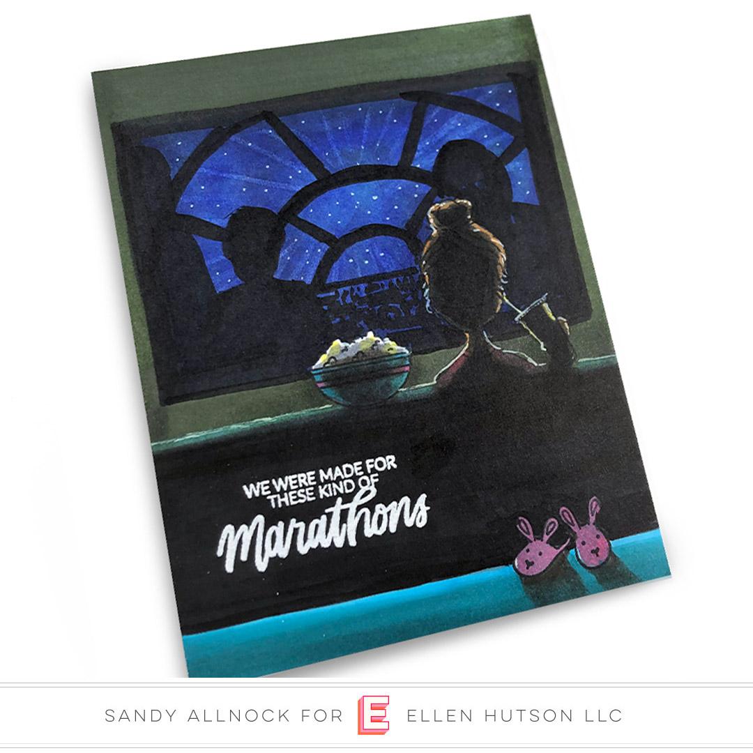 Essentials by Ellen Binge Watching Lady card by Sandy Allnock