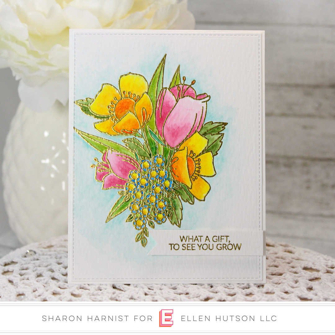 Essentials by Ellen Mondo Wildflowers card by Sharon Harnist