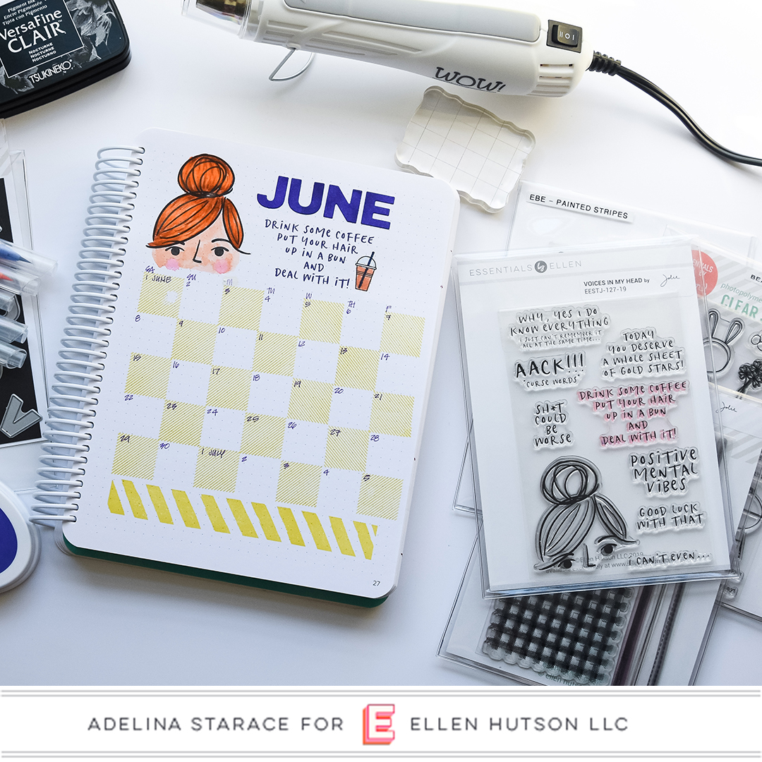 Stamping A Monthly Planner Layout with Essentials by Ellen