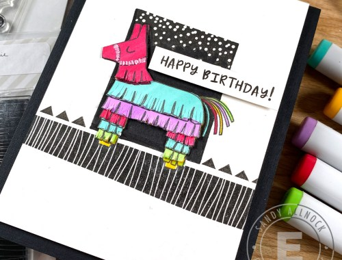 Black white and color birthday card