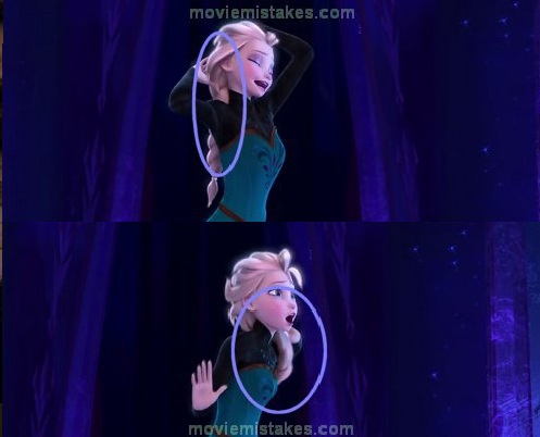 14. Frozen, error de animación, el pelo le atraviesa el hombro