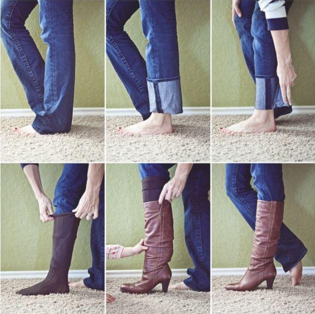 4. ¿Tus pantalones son muy anchos para meterlos en las botas? Probá esto: