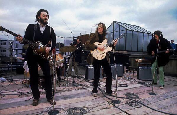 31. El último concierto de los Beatles en un techo de Londres, 1969.