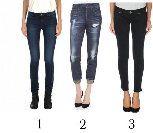 Un jean oscuro, un jean boyfriend y un pantalón de gabardina negro