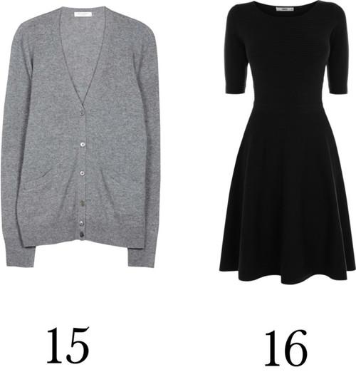 Un vestido corto negro, un cardigan.