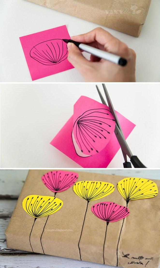 11. Recortar formas en cartulina y agregarlas al papel. De paso se puede escribir algo para el destinatario.