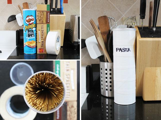 5. Guardá los fideos en un tubo de Pringles.