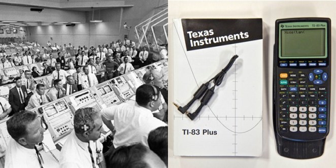6. Hay más poder de procesamiento en una calculadora TI-83 que en el equipo que aterrizó el Apolo 11 en la luna.
