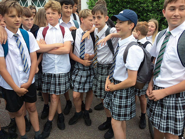 Boys Wear Skirts On A Hot Day To School In Protest At Being Told They Were Not Allowed To Wear Shorts