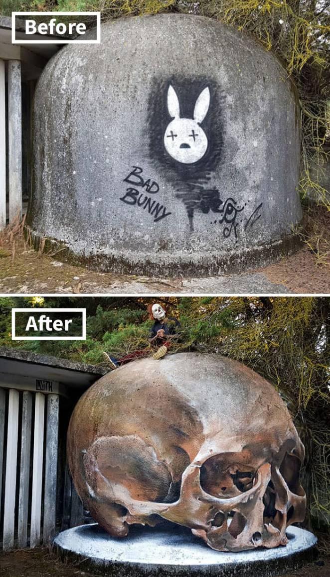 Realistic 3d graffiti creature