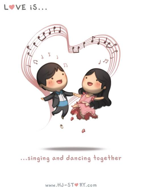 7. El amor es... cantar y bailar juntos.
