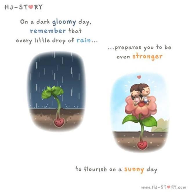 37. En un día melancólico, recuerda que cada pequeña gota de lluvia... Te prepara para ser incluso mas fuerte... Para florecer en un día soleado