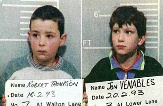 9. Jon Venables y Robert Thompson: Secuestraron a un chico de 2 años, lo asaltaron sexualmente, y tras golpearlo con distintas cosas incluyendo ladrillos, lo dejaron en las vías del tren.