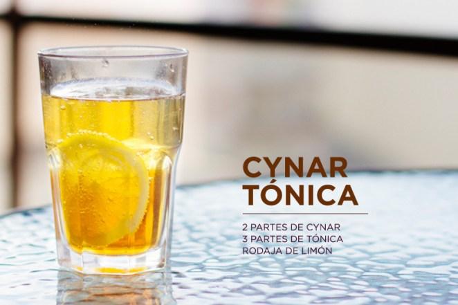 3. Cynar tónica, el aperitivo perfecto. Amarguito, apenas dulce y con el toque refrescante del limón