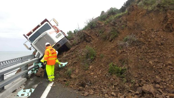 There Was A Mud Slide Just North Of My Town And This Caltrans Truck Driver Had A Very Close Call. To The Left Is The Pacific Ocean