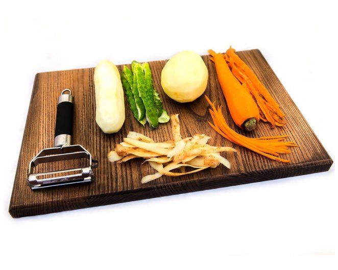 A vegetable peeler with different blades for different dishes