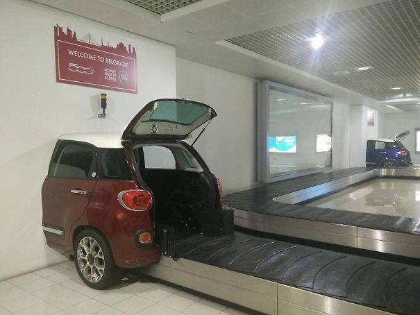 At This Airport, Luggage Comes Out Of The Car Trunk