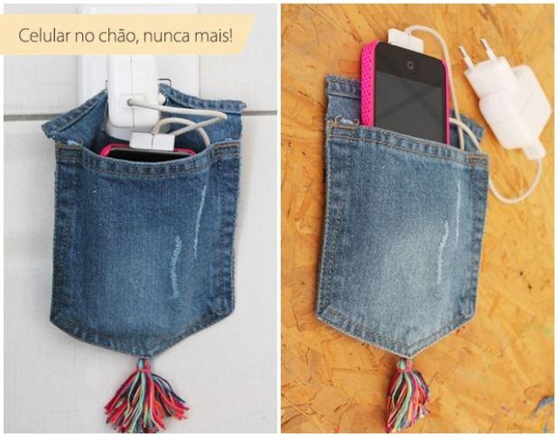 Porta Carregador De Celular Feito Com Jeans Blog Do Elo7