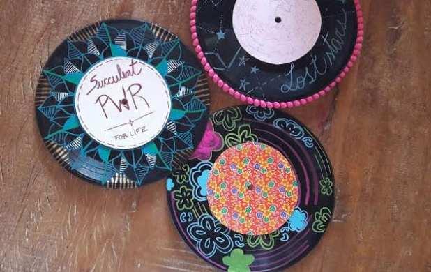 como pintar disco de vinil