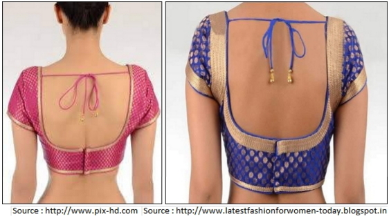 U back neck blouse design