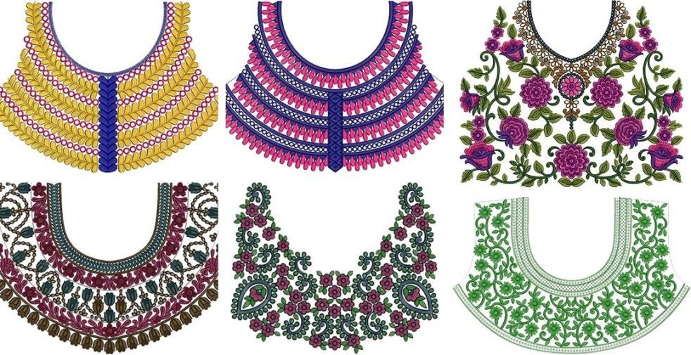 machine embroidery blouse neck designs