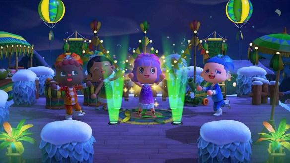 Bunte Karnevalsfeiern in Animal Crossing.