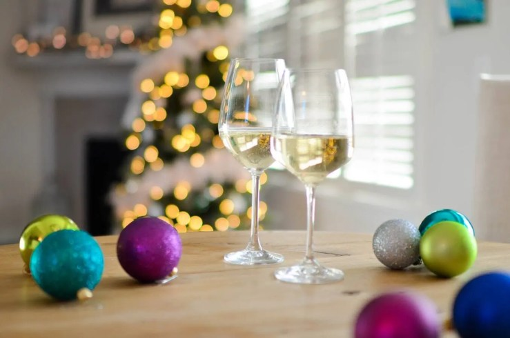 Drinks and baubles at a Christmas party