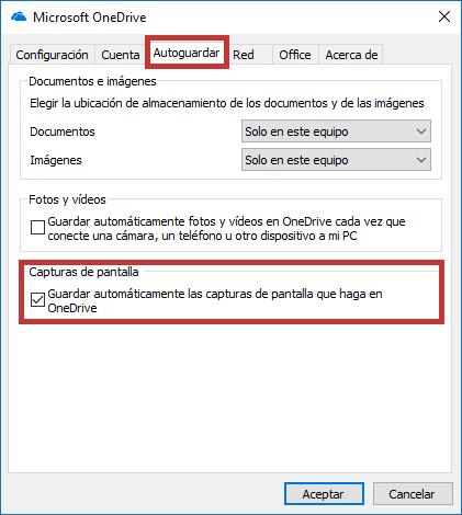Guardar capturas de pantalla OneDrive