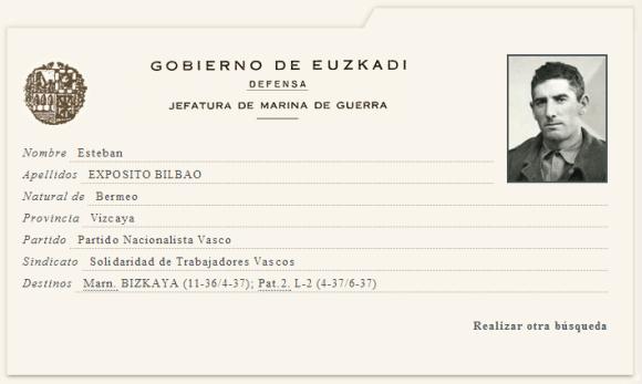 Ficha de la Marina de Guerra Auxiliar de Euzkadi de Esteban Bilbao Exposito