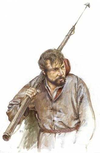 An artist's representation of a Basque whaler.