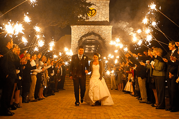 The best moment to use wedding sparklers at a wedding.