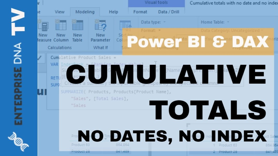 Cumulative Totals In Power BI Without Any Dates - Advanced DAX