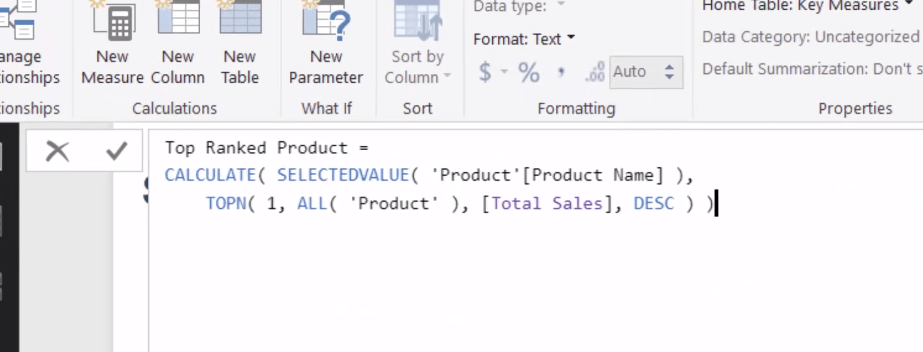 CALCULATE, SELECTVALUE, TOPN - DAX functions