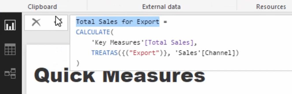 total sales for export formula