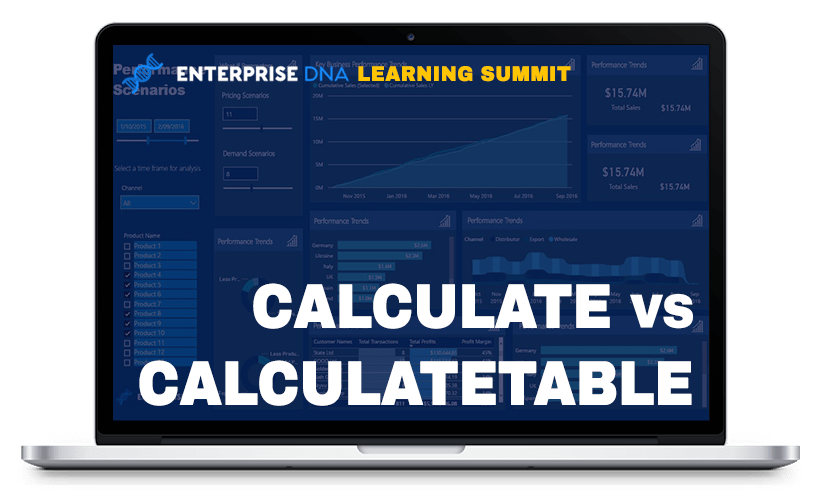 Enterprise DNA Learning Summit CALCULATE vs CALCULATETABLE Dashboard
