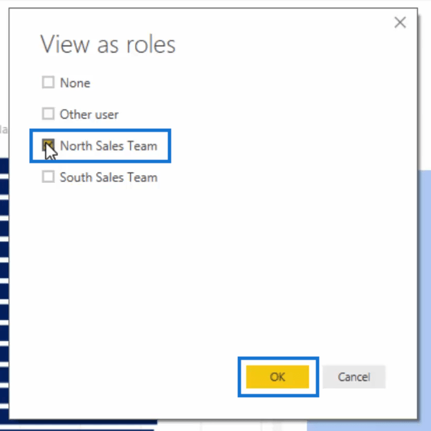 selecting to view as north sales team
