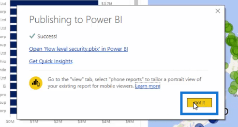 row level security model in power bi published