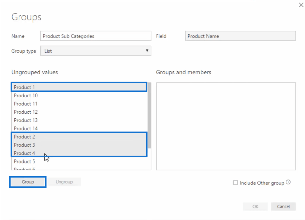 creating groups in power bi