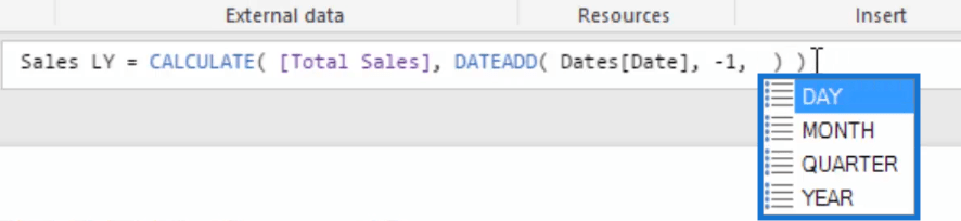 replacing day month quarter and year when using dateadd function in a formula
