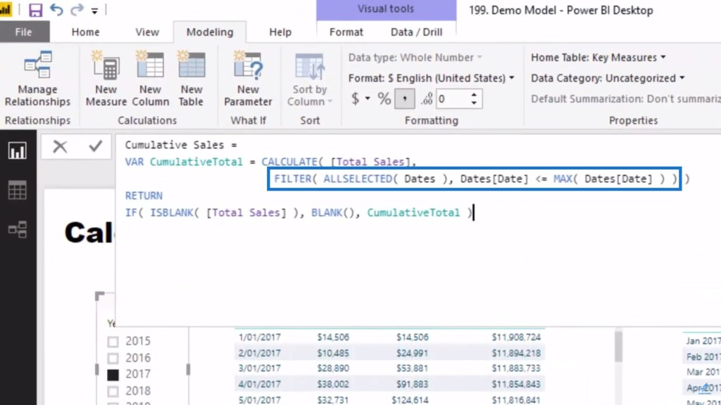 FILTER function as part of calculating Reverse Cumulative Total in Power BI DAX pattern
