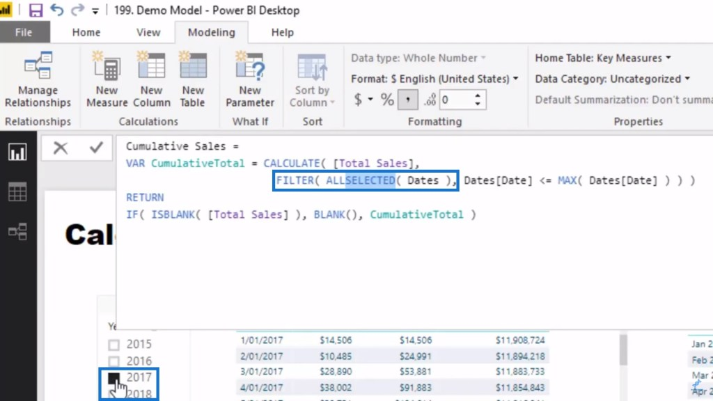 ALLSELECTED function as part of the Cumulative total in Power BI DAX pattern