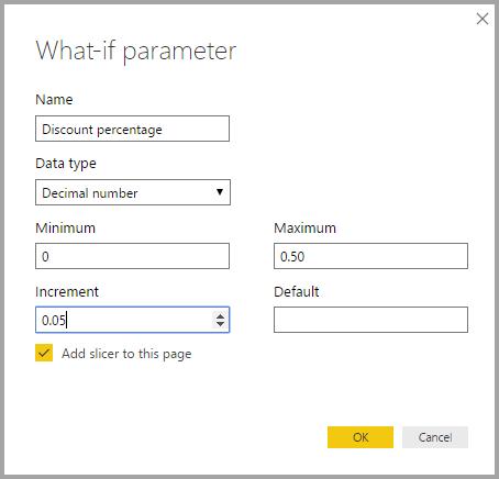 What If Parameter dialog in Power BI