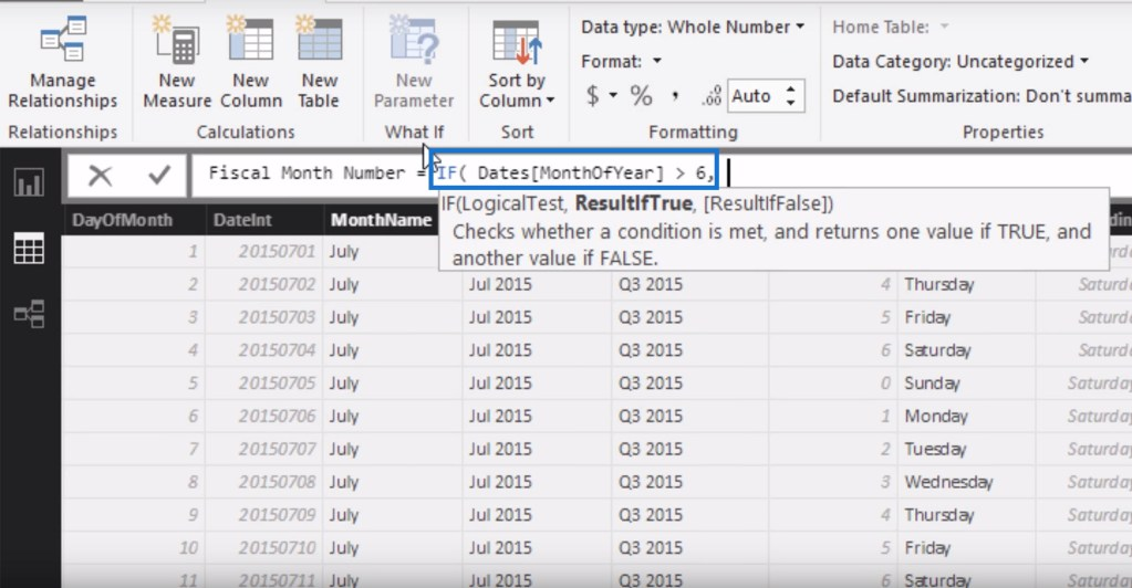 Evaluating the MonthOfYear column within the IF logic for filtering data by financial or fiscal years using calculated columns in Power BI.