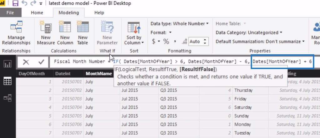 Adding 6 to the value of the MonthOfYear column within the IF logic for filtering data by financial or fiscal years using calculated columns in Power BI.