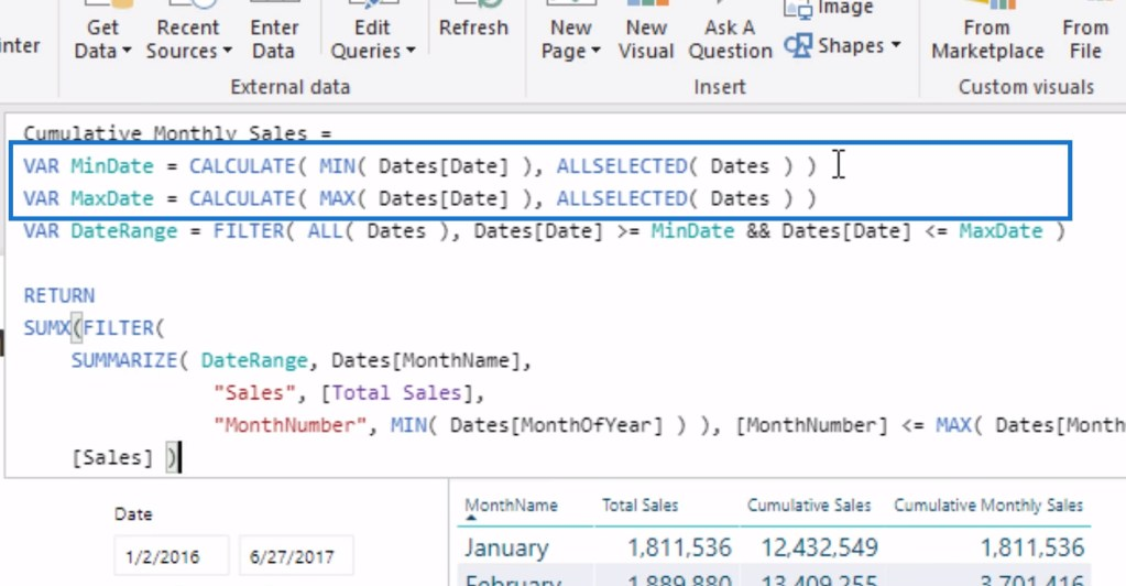 Variables for customizing the date range in the cumulative monthly sales pattern