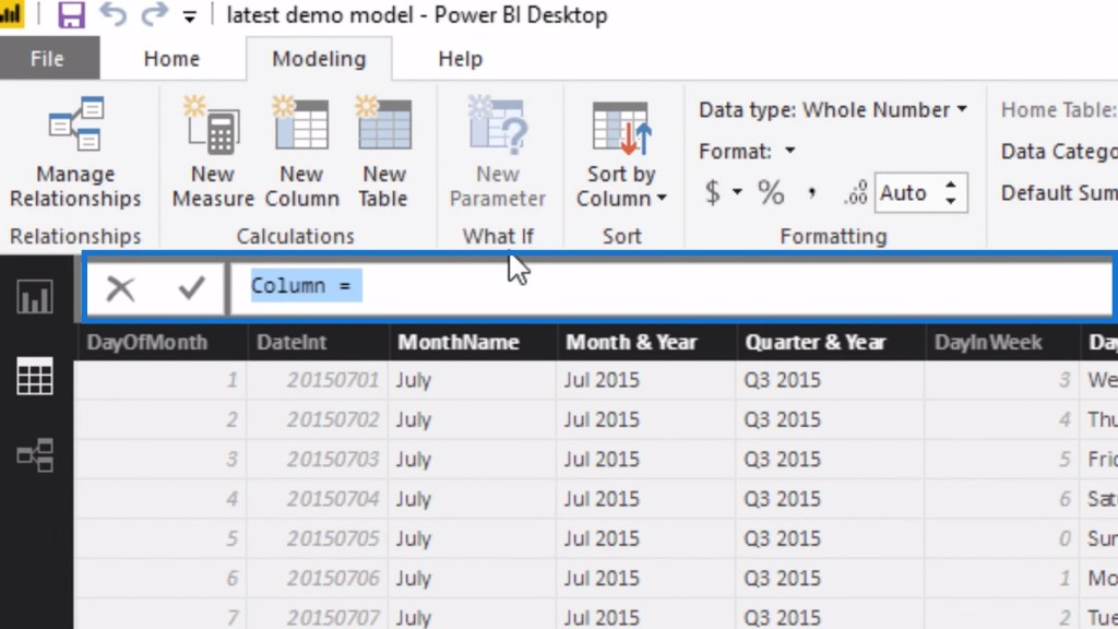 Formula bar for the calculated column that was created within the date table in Power BI