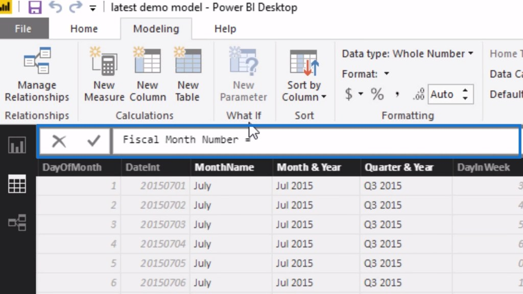 Fiscal Month Number measure for the newly-added calculated column in Power BI