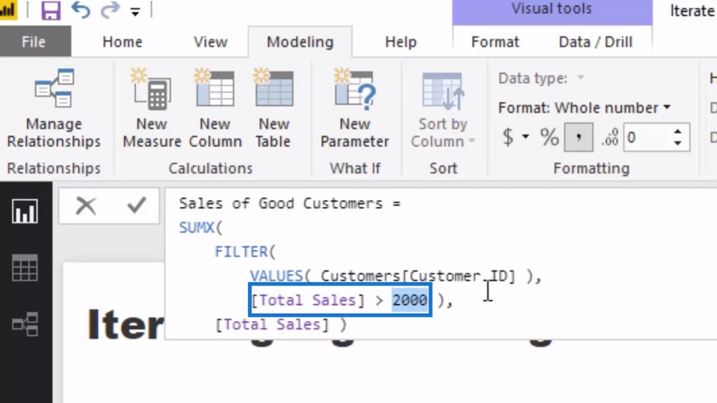 a logic within a virtual table which will filter out every single customer that has purchased under 2000, and will retain those customers that have purchased over 2000