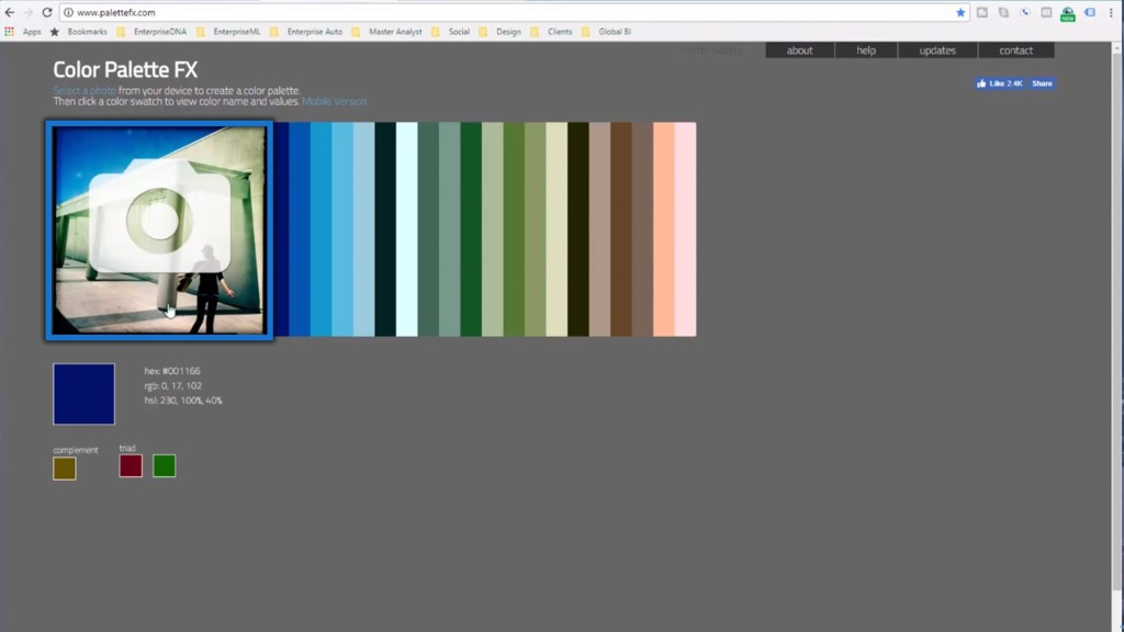 uploading image within the Color Palette FX Website