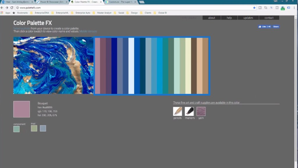 Generated color palettes from the Color Palette FX Website for Power BI data visualization